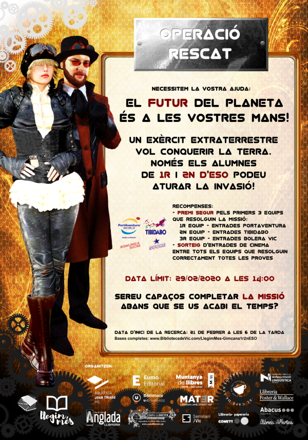 20200310-Llegim_Mes-Operacio_Rescat-Gimcana_Literaria-Llibres_Vic_Osona-1r_2n_ESO-Poster